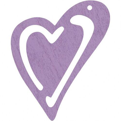 Happy Moments holzherzen 5,5 x 4,5 cm violett 10 Stück