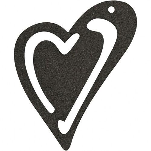 Happy Moments holzherzen 5,5 x 4,5 cm schwarz 10 Stück