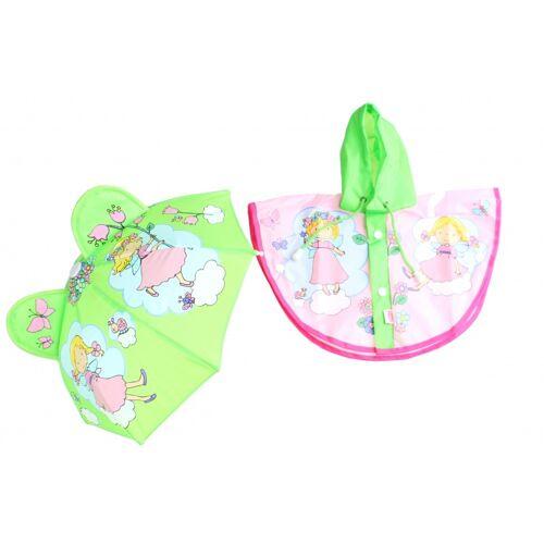 Heless Puppen Regenbekleidung mit Regenschirm 28 35 cm rosa/grün