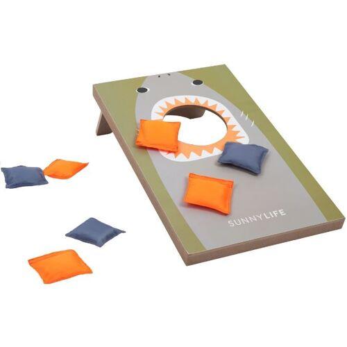 Sunnylife wurfspiel Hai Junior 35 x 50 cm Holz grau 8 teilig