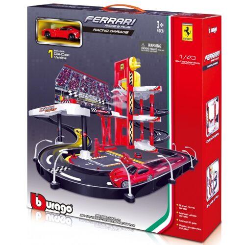 Bburago Race & Play Werkstatt mit Ferrari F12 1:43 rot