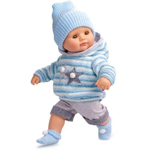 Berjuan babypuppe 34 cm Vinyl/Textil blau/grau/weiß