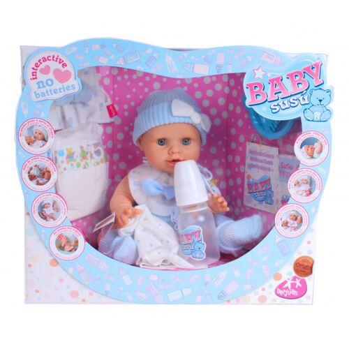 Berjuan babypuppe Baby Susu Mädchen 38 cm Vinyl blau