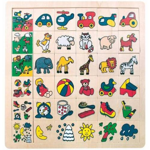 Bino lernpuzzle Match The Pictures junior 31 cm Holz 37 Stück