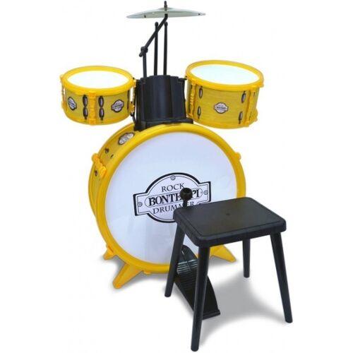 Bontempi Schlagzeug RockDrummer mit Hocker gelb