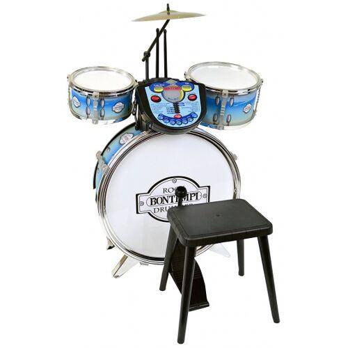 Bontempi Schlagzeug RockDrummer mit Tutor 4 teilig blau