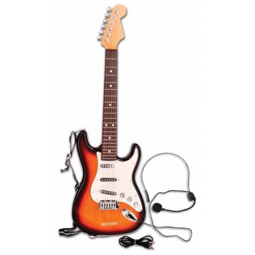 Bontempi elektrische Rockgitarre Junior 64 cm braun 3 teilig