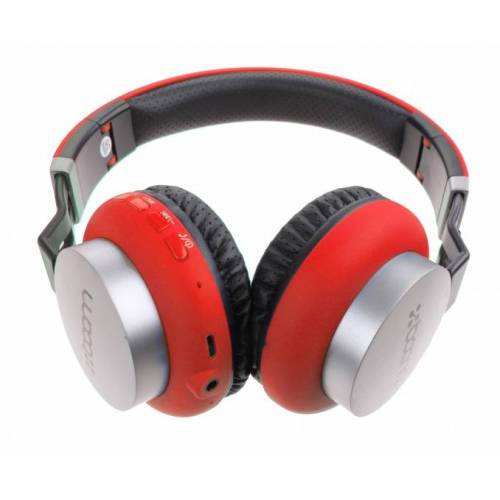 Boom kopfhörer am Ohr drahtlos Bluetooth rot