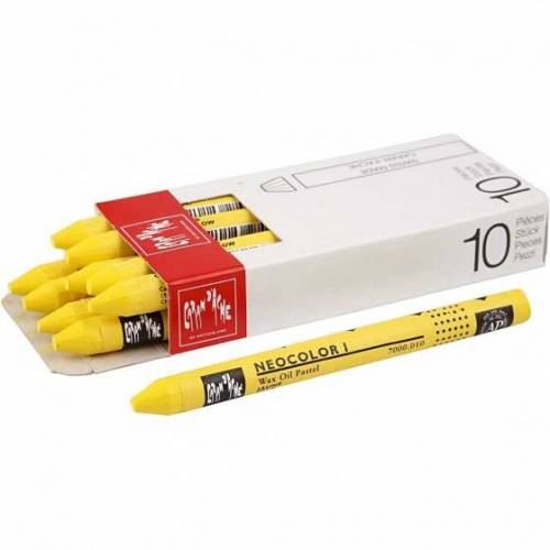 Caran d'Ache wachsmalstifte gelb 10 cm 10 Stück
