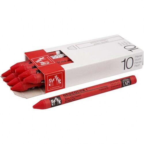Caran d'Ache wachsmalstifte rot 10 cm 10 Stück