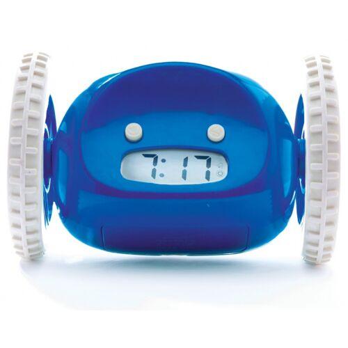 Clocky wecker Roboter auf Rädern Junior 13,5 x 9 cm blau/wi