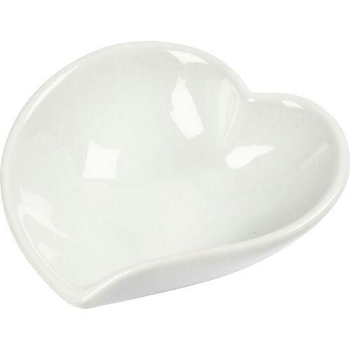 Creotime herzförmiges Geschirr 12 Stück 8 cm weiß S