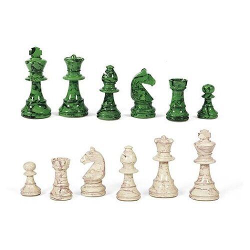 Dal Negro schachfiguren N.3 75 mm Holz grün/weiß