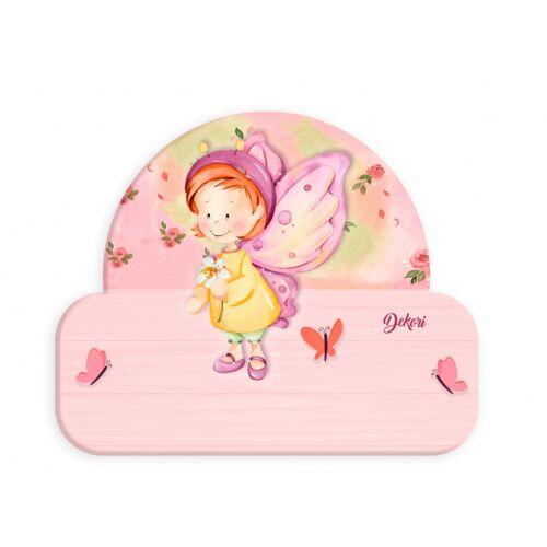 Dekori namensschild Schmetterling Mädchen 12 x 17 cm Holz rosa