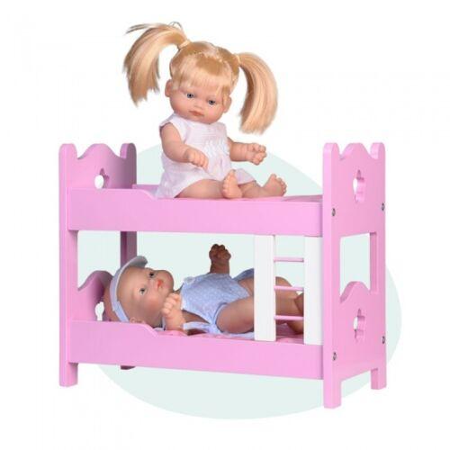 Falca babypuppen Mini Baby mit Holz Etagenbett 28 cm rosa