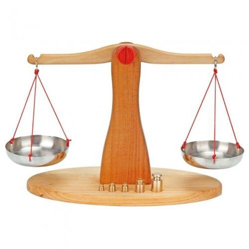 Glückskäfer waage Holz/Metall mit 5 Gewichten 40 x 30 cm