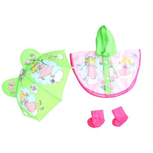 Heless Puppen Regenbekleidung mit Regenschirm 35 45 cm rosa, grün