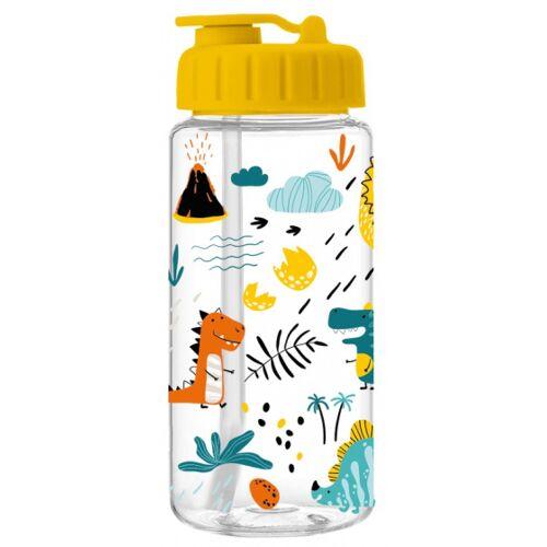 I-Drink I Drink trinkflasche Dino mit Strohhalm 400 ml transparent/gelb