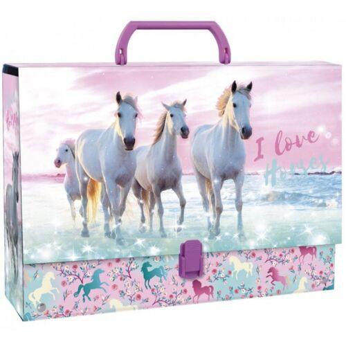 I Love Horses aufbewahrungsbox Mädchen 33 x 24 cm Karton rosa/blau