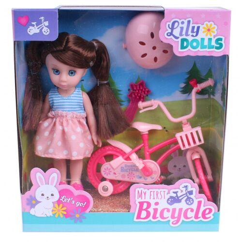 Johntoy lily Dolls Mein erstes Fahrrad 15 cm blau/rosa