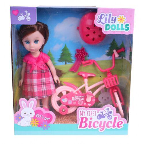 Johntoy lily Dolls Mein erstes Fahrrad 15 cm rosa