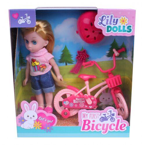 Johntoy lily Dolls Mein erstes Fahrrad 15 cm rosa/blau