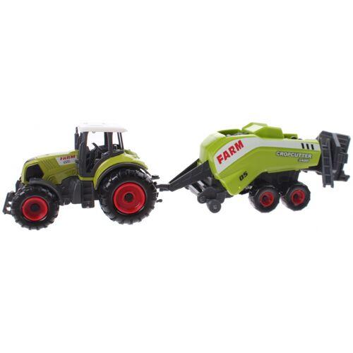 Johntoy Traktor mit grünem Feldhäcksler 22 cm