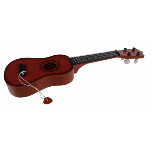 Jonotoys gitarre viersaitig mit dunkelbraunem Plektrum 40 cm lang