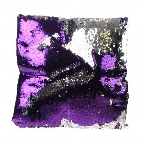 Kamparo kissen mit Pailletten 40 cm silber/violett