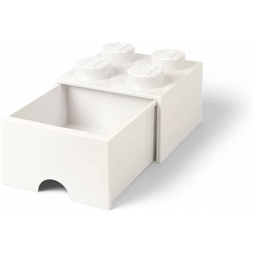 Lego aufbewahrungsstein mit Schublade 4 Noppen 25 x 17 cm Polypropylen weiß