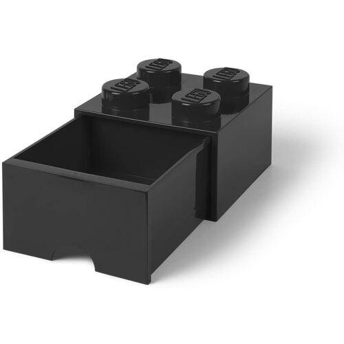 Lego aufbewahrungsstein mit Schublade 4 Noppen 25 x 17 cm Polypropylen schwarz