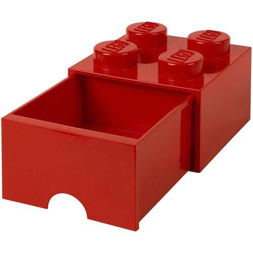 Lego aufbewahrungsstein mit Schublade 4 Noppen 25 x 18 cm Polypropylen rot