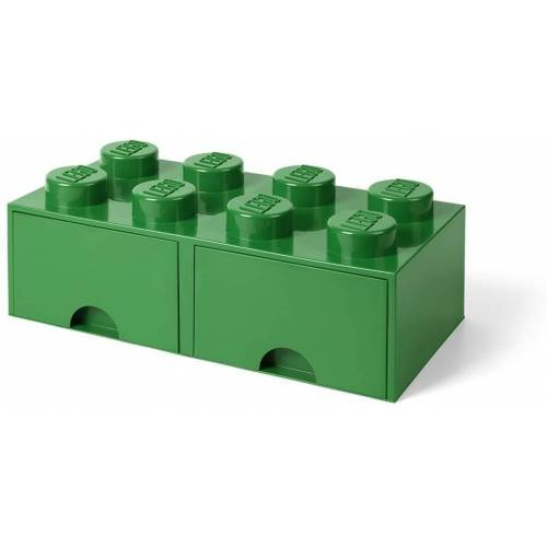 Lego aufbewahrungsstein mit Schubladen 8 Noppen 50 x 18 cm PP grün