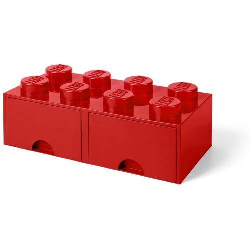 Lego aufbewahrungsstein mit Schubladen 8 Noppen 50 x 18 cm PP rot