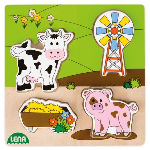 Lena puzzle Wiese 15 cm Holz klar/grün 5 teilig