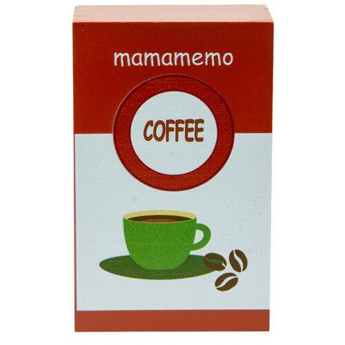Mamamemo packung Kaffeebohnen 10 cm Holz braun/weiß