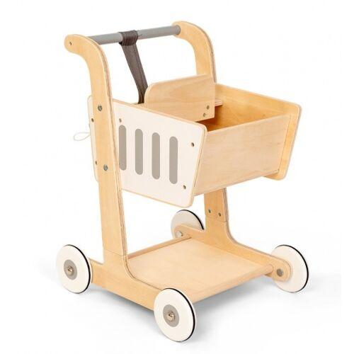 Mamamemo Einkaufswagen mit Kindersitz Holz 51 x 38 x 35 cm