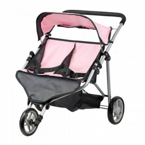 Mini Mommy Puppen Buggy Twin pink / grau 65 x 48 x 56 cm