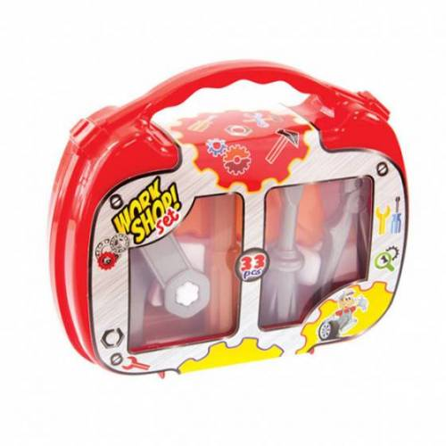 Mochtoys mechaniker Kit Spielzeug rot/weiß/orange 6tlg