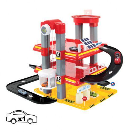 Mochtoys garagen Spielset 59 x 57 x 46 cm rot/schwarz/gelb/weiß