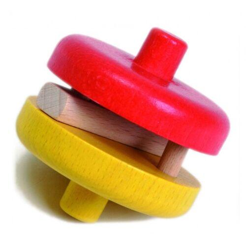 Nic rot gelbe Rasselscheibe 4,5 cm Holz
