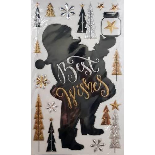 Peha aufkleber pop up Santa Claus 47,5 x 24,5 cm schwarz/gold/silber