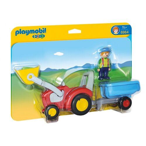 Playmobil 1.2.3: Landwirt mit Zugmaschine und Anhänger 27 x 7 x 9 cm (6964)