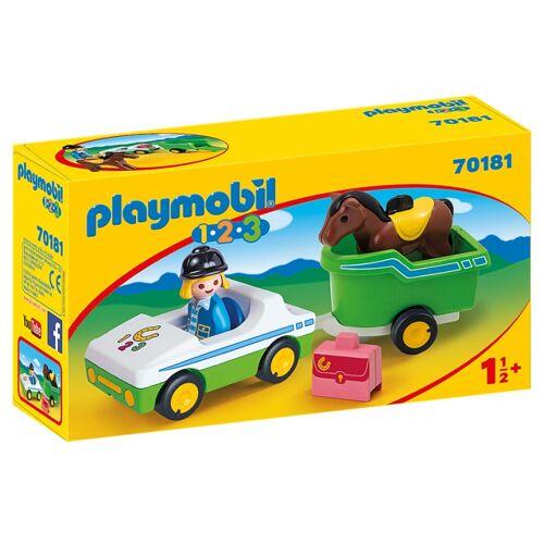 Playmobil 1, 2, 3   Kutsche mit Pferdeanhänger (70181)