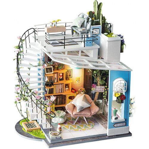 Robotime dIY Dora's Loft Bausatz Puppenhaus 26 cm Holz 3 Stück