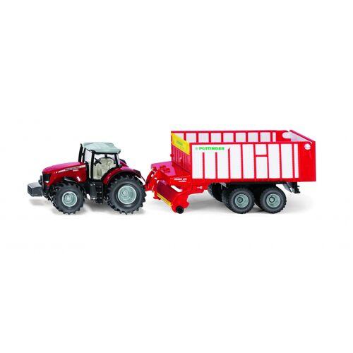 Siku Massey Ferguson Traktor mit Pöttinger Häckslerwagen rot (1987)