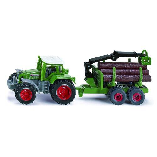 Siku Fendt Traktor mit Anhänger und Baumstümpfe grün (1645)