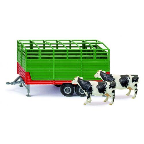 Siku Viehtransporter mit zwei Kühen grün / rot (2875)