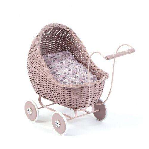 Smallstuff rattan Puppenwagen 49 cm rosa