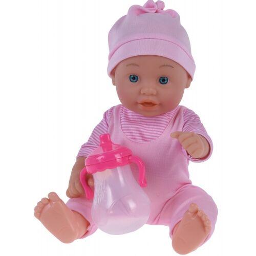 Tender Toys babypuppe mit Trinkflasche rosa 20 cm